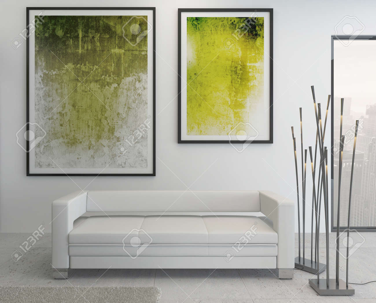 Modern Living Room Interior With Green Paintings On Wall Stock