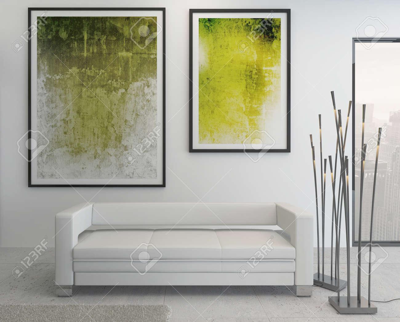 Gemälde Wohnzimmer, moderne wohnzimmer innenraum mit grünen gemälde an der wand, Design ideen
