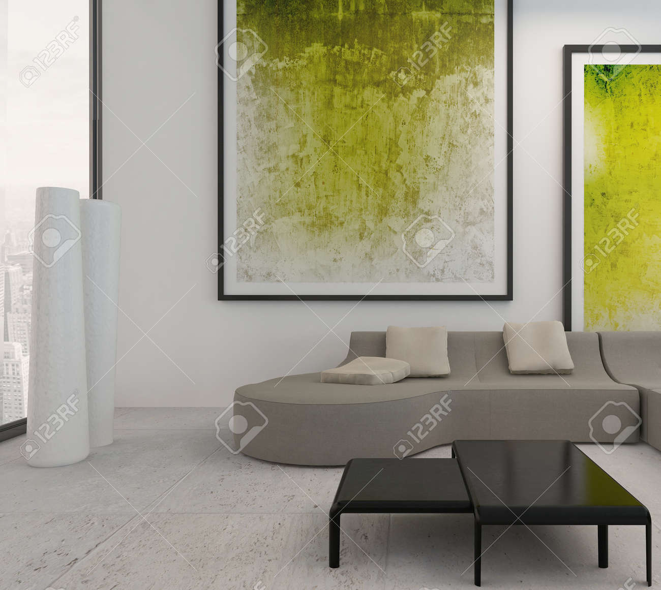 Paintings For The Living Room Modern Living Room Interior With Green Paintings On Wall Stock