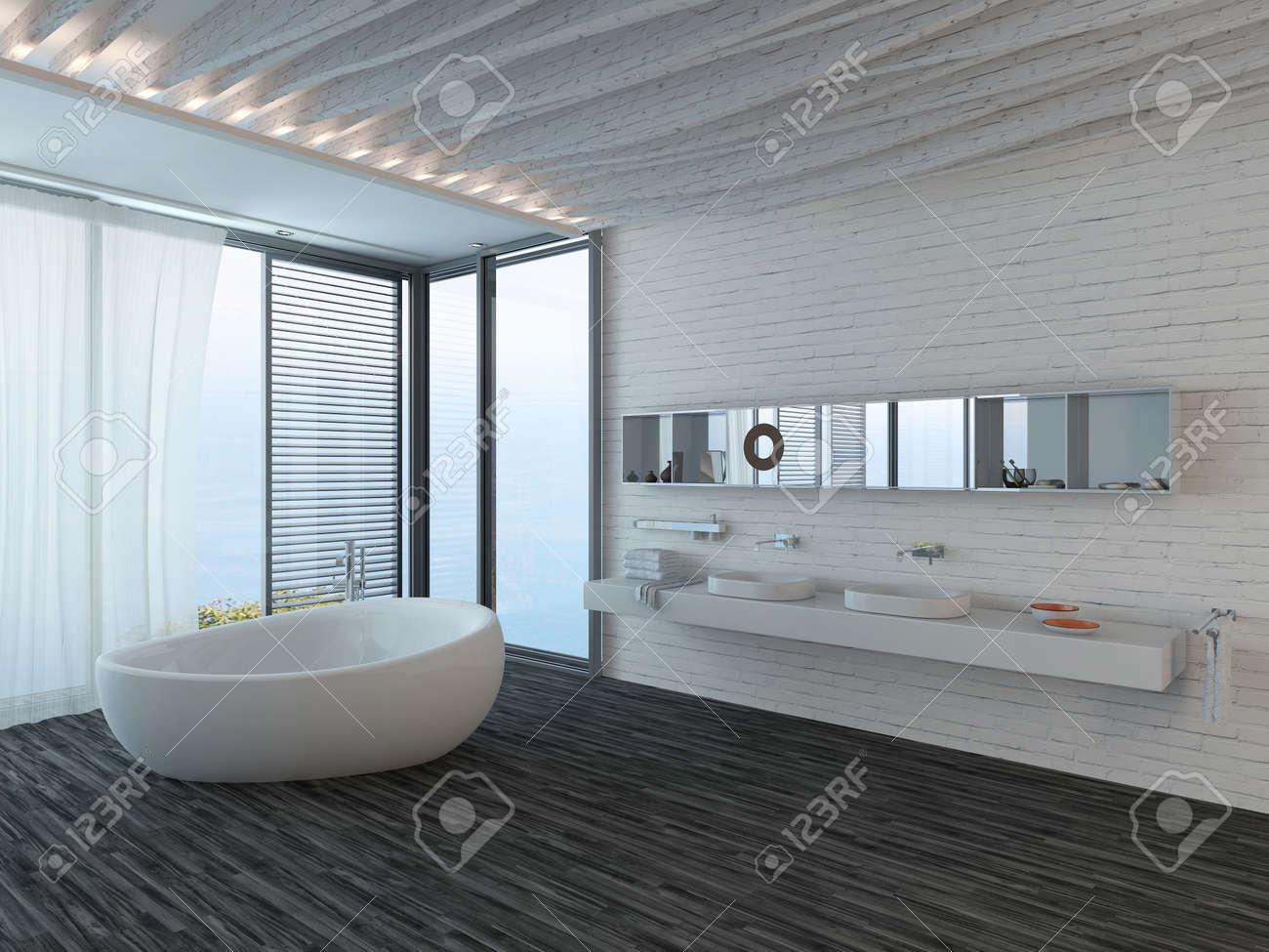 Pure White Bathroom Interior With Bathtub And Black Parquet Floor ...