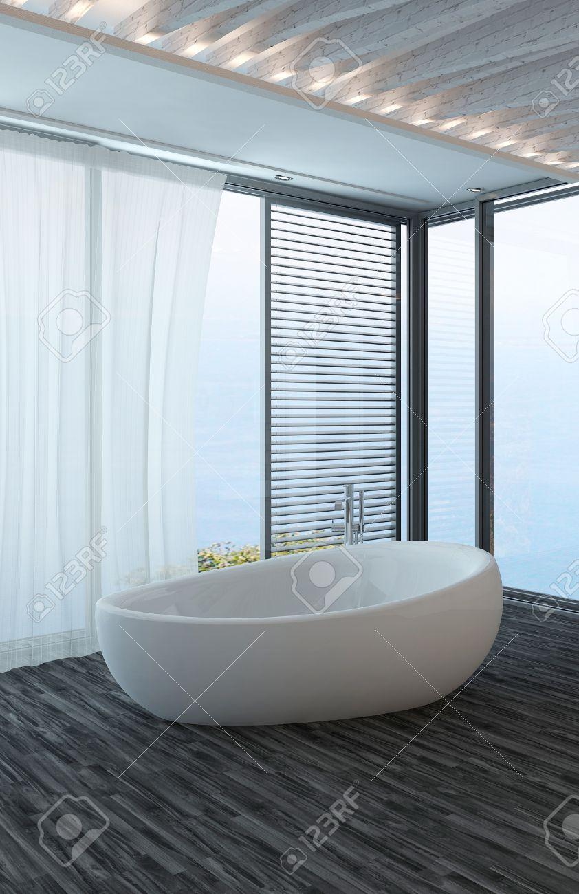 banque dimages intrieur de salle de bains moderne avec un sol noir autoportante baignoire et fentre avec vue sur le paysage marin