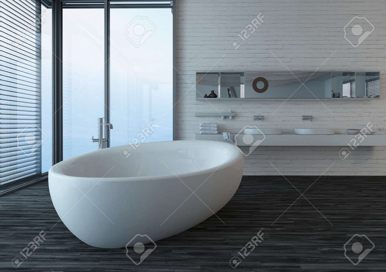 Modern Bathroom Interior With Black Floor, Standalone Bathtub And Window  With Seascape View Stock Photo