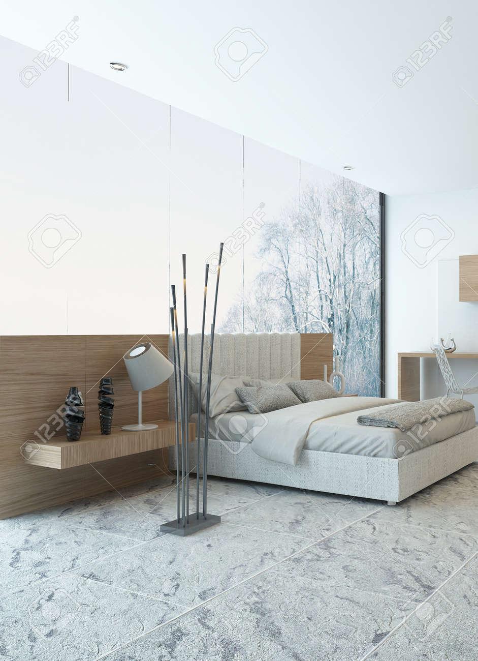 Intérieur Belle chambre confortable avec un lit en bois moderne