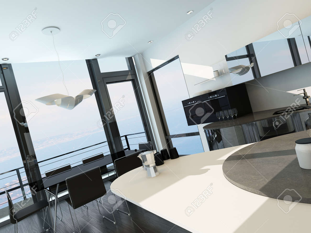 Modern luxury kitchen interior with dining table Stock Photo - 29023077