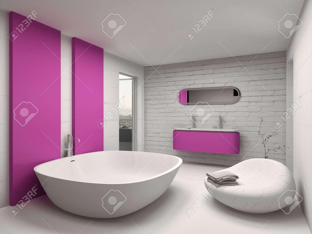 Intérieur de salle de bains moderne avec baignoire rose supersize