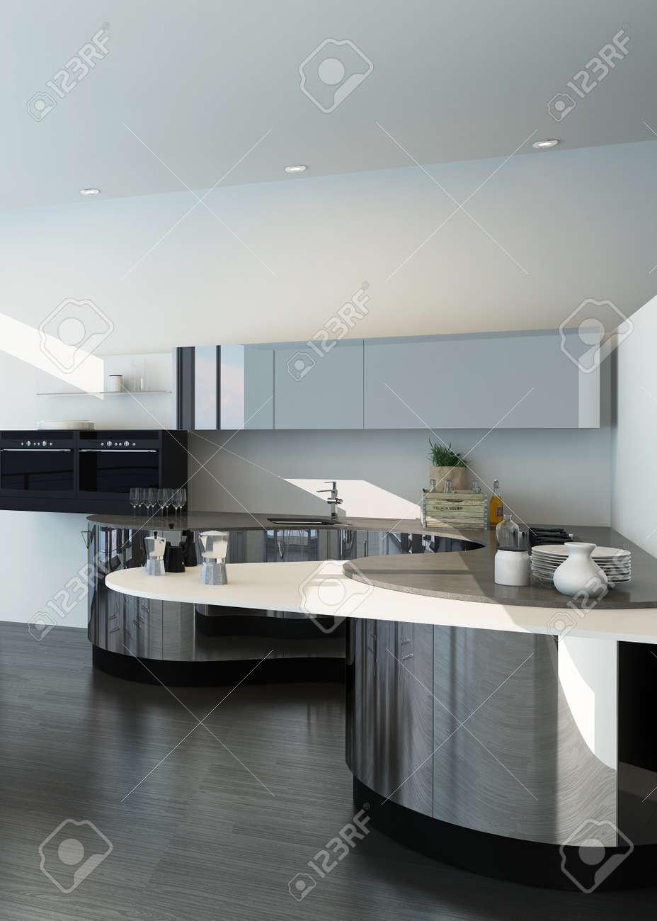 Modern silver and white colored kitchen interior Stock Photo - 29180852