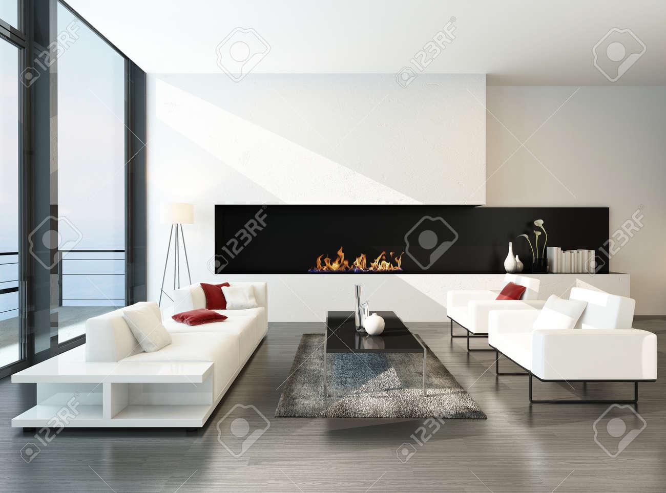Reine Minimalistischen Wohnzimmer Innenraum Mit Couchgarnitur Und