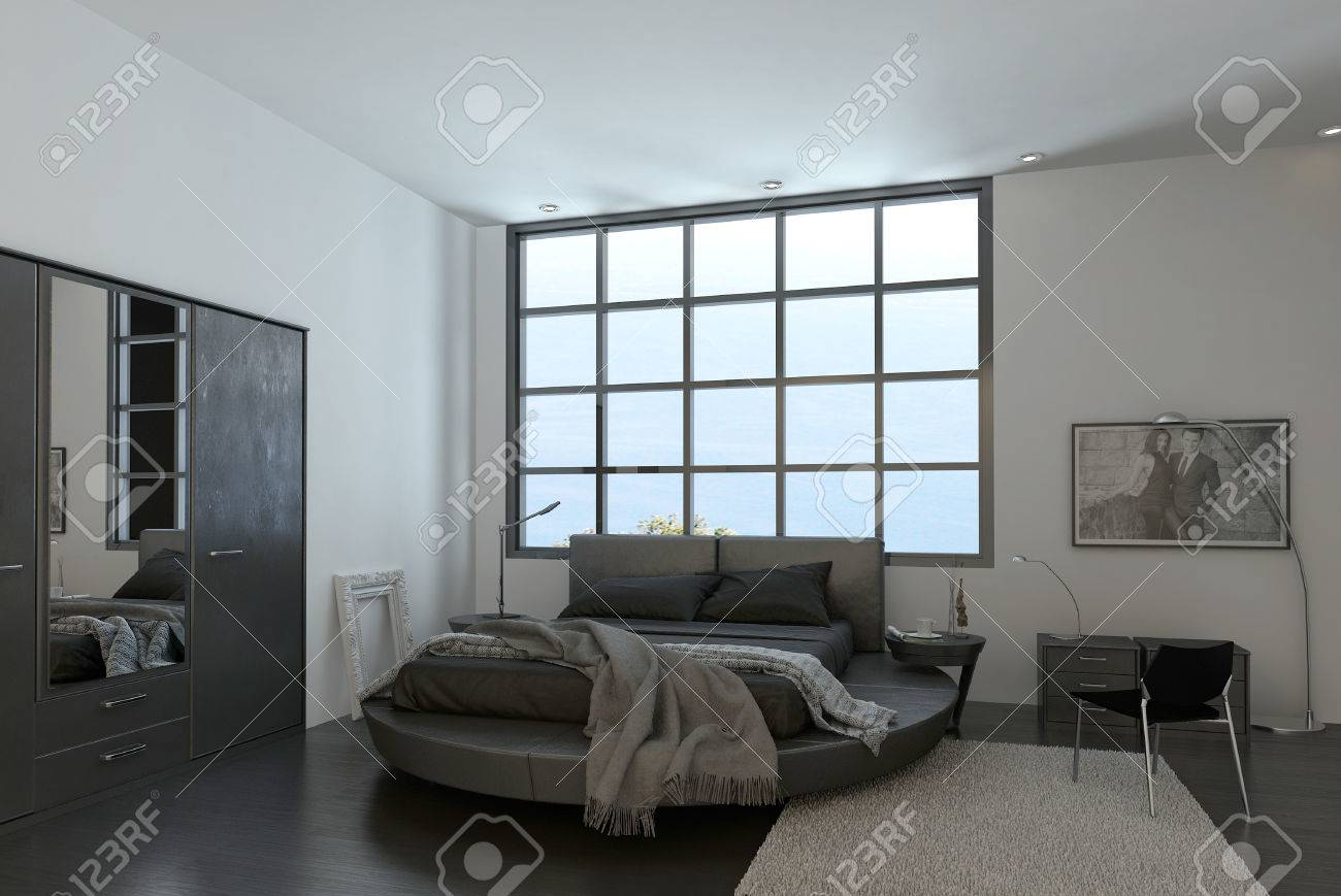 Intérieur moderne de chambre à coucher design de luxe banque d ...