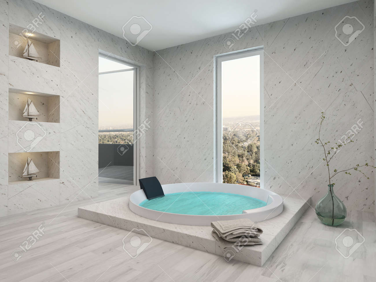Modern bathroom interior with parquet floor and jacuzzi stock