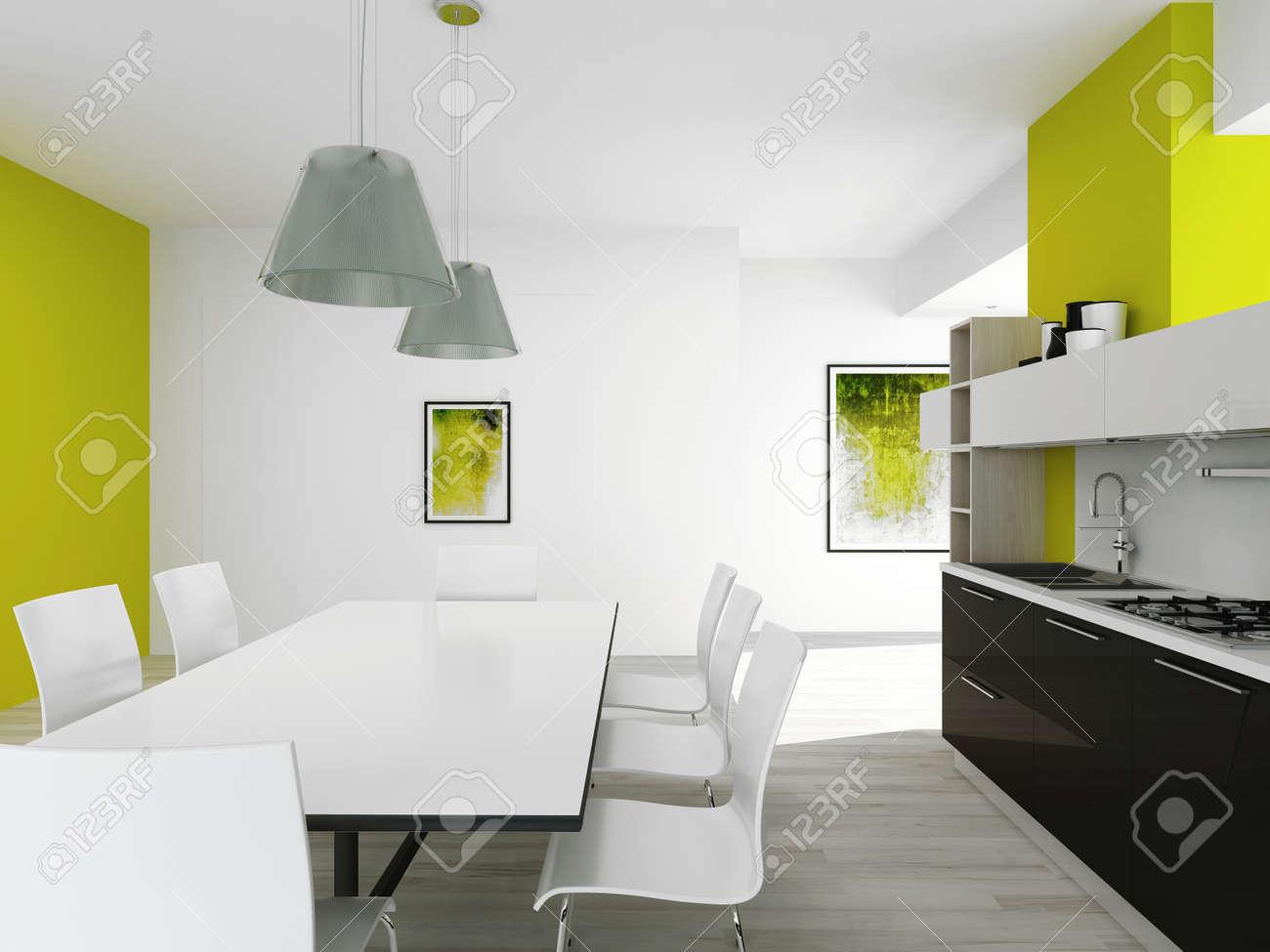 Interior De La Cocina Moderna Con Mesa De Comedor Y Paredes De Color ...