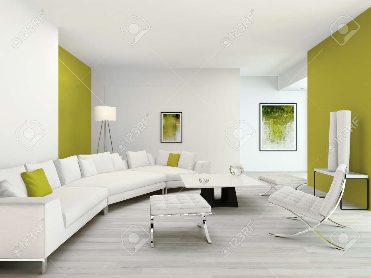 Pure Green And White Living Room Interior With Contemporary Modern ...