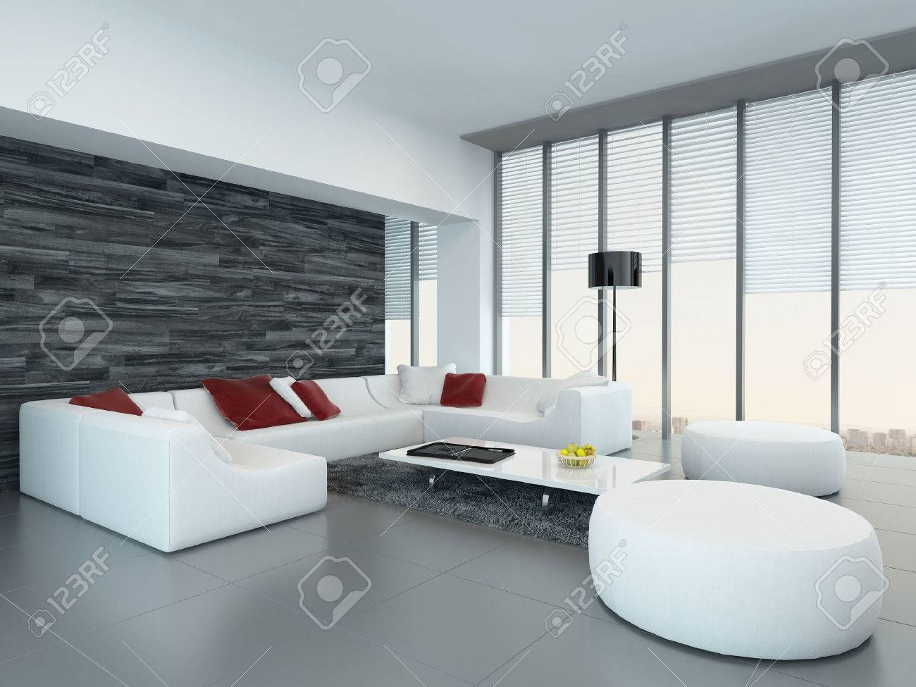 Weiß Luxus Wohnzimmer Interieur Mit Schwarzen Holzwand Standard Bild    29180954