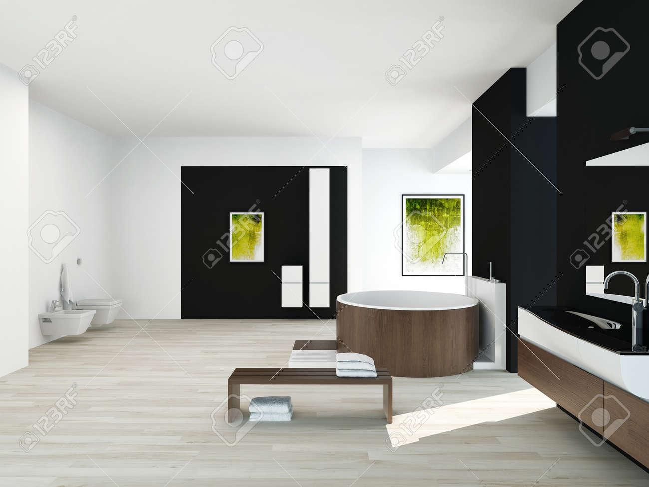 Intérieur de salle de bains moderne avec un mur noir, peinture ...