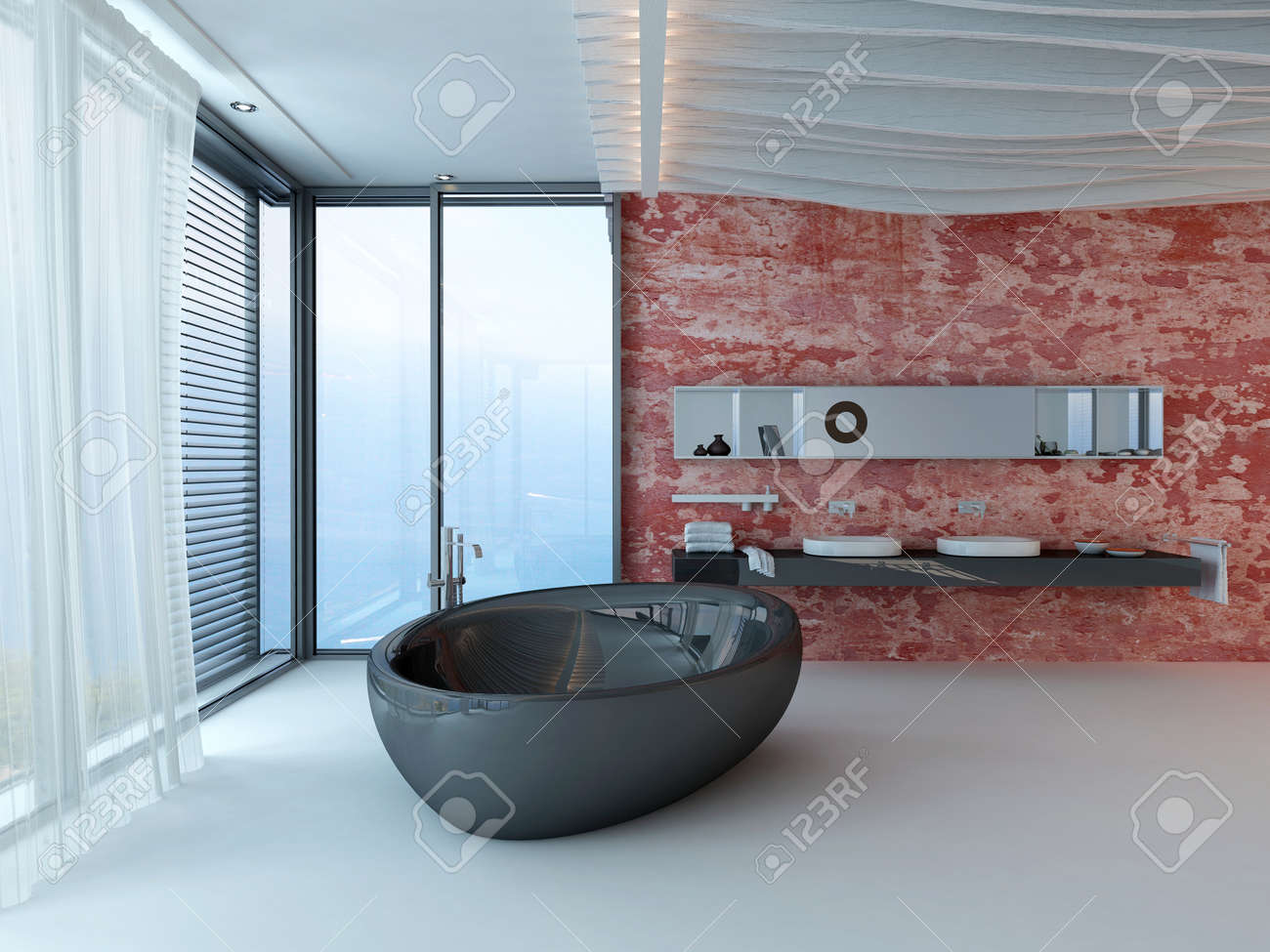 Design D\'intérieur De Salle De Bains Moderne Avec Baignoire Noir Et ...