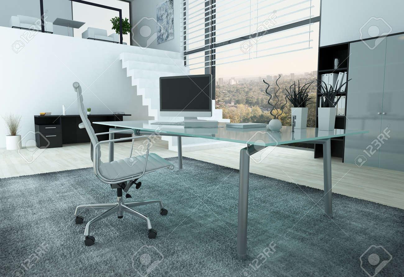 Intérieur de bureaux moderne avec bureau en verre chaise et pc