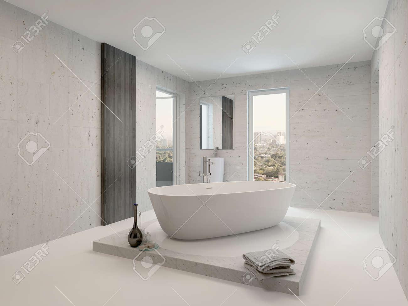 Minimalistischen Badezimmer Interieur Mit Freistehender Badewanne Weiß  Standard Bild   28772308