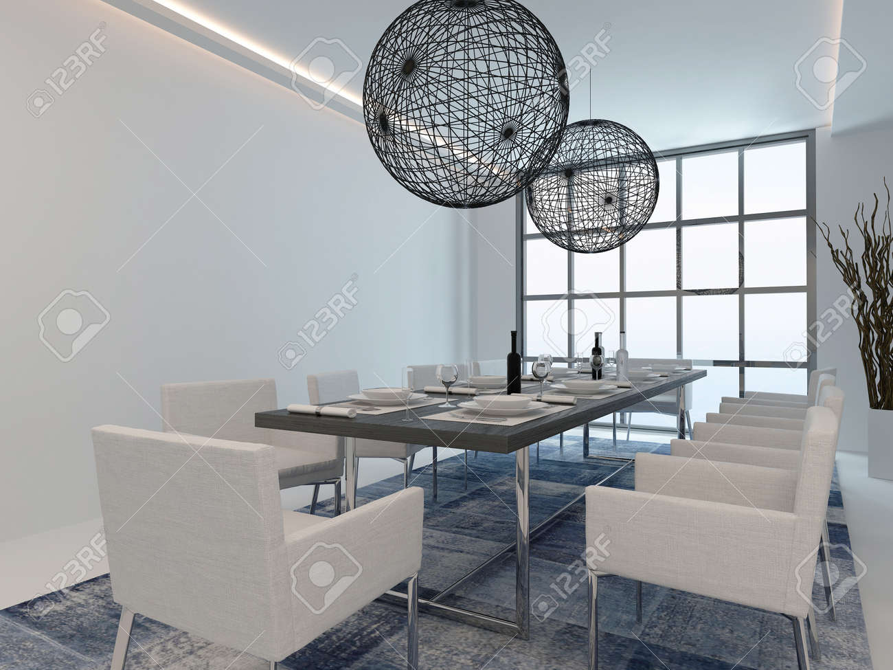 Nice Dining Room Interior With Dining Table And Modern Window Stock ...