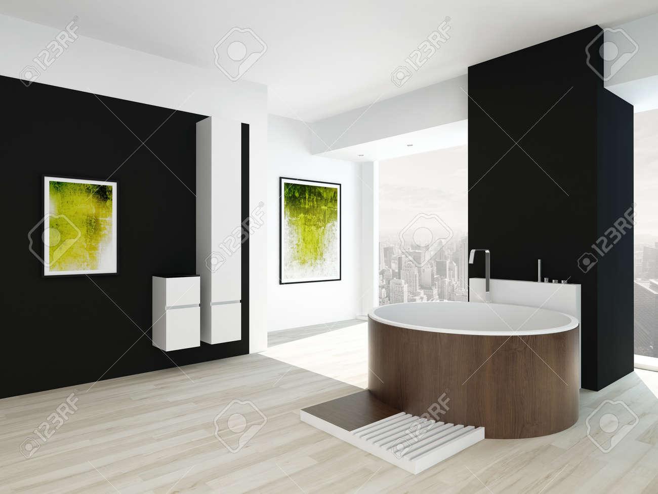 Interieur De Salle De Bains Moderne Avec Un Mur Noir Peinture Verte Et Baignoire En Bois Rond