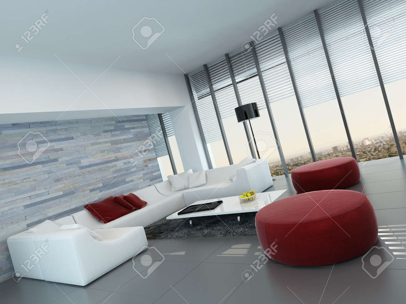 Pleasing Nice Living Room Interior With White Couch With Red Pillows And Pdpeps Interior Chair Design Pdpepsorg