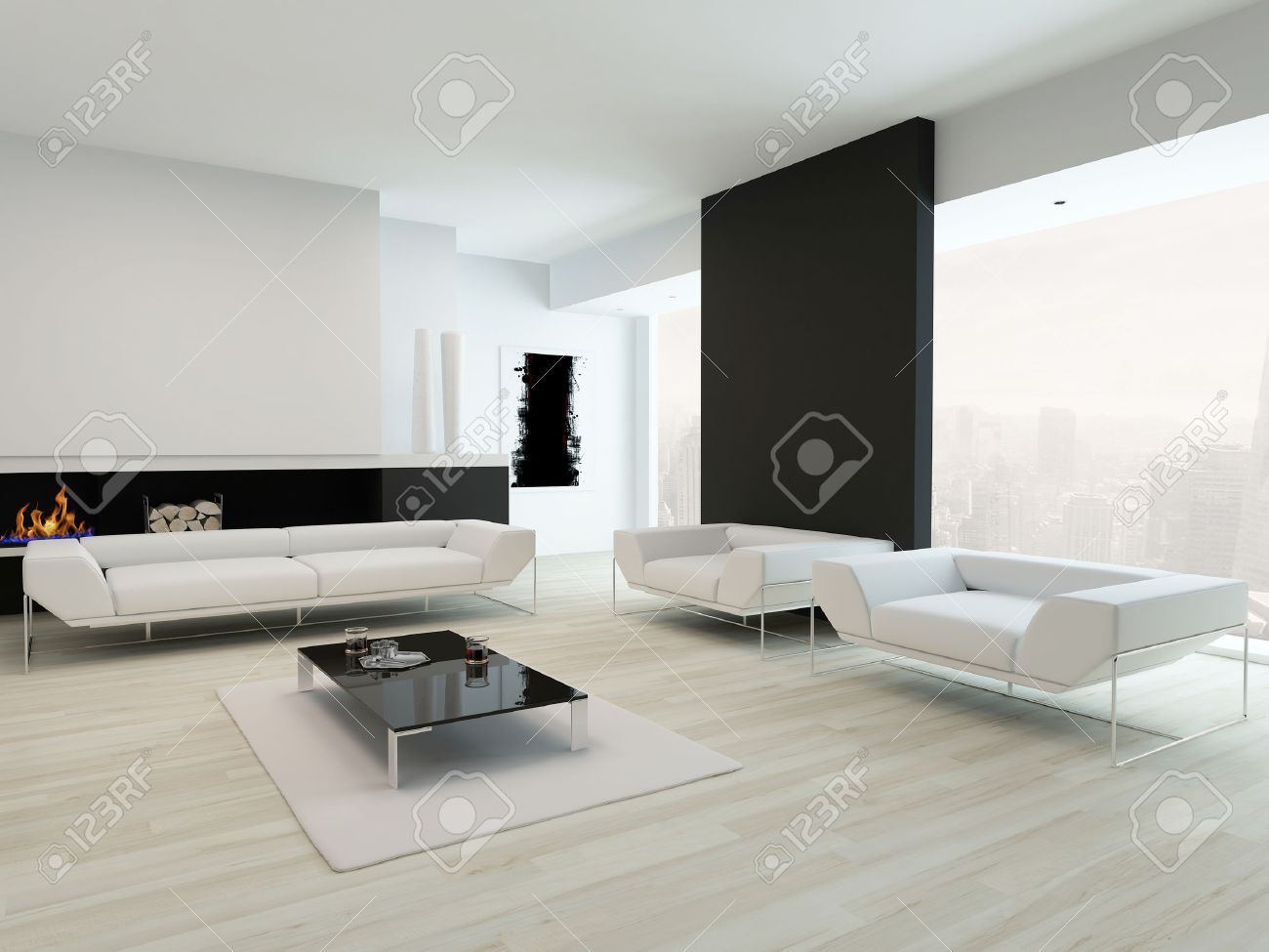 Modern Contemporary Black And White Living Room Interior Stock Photo ...