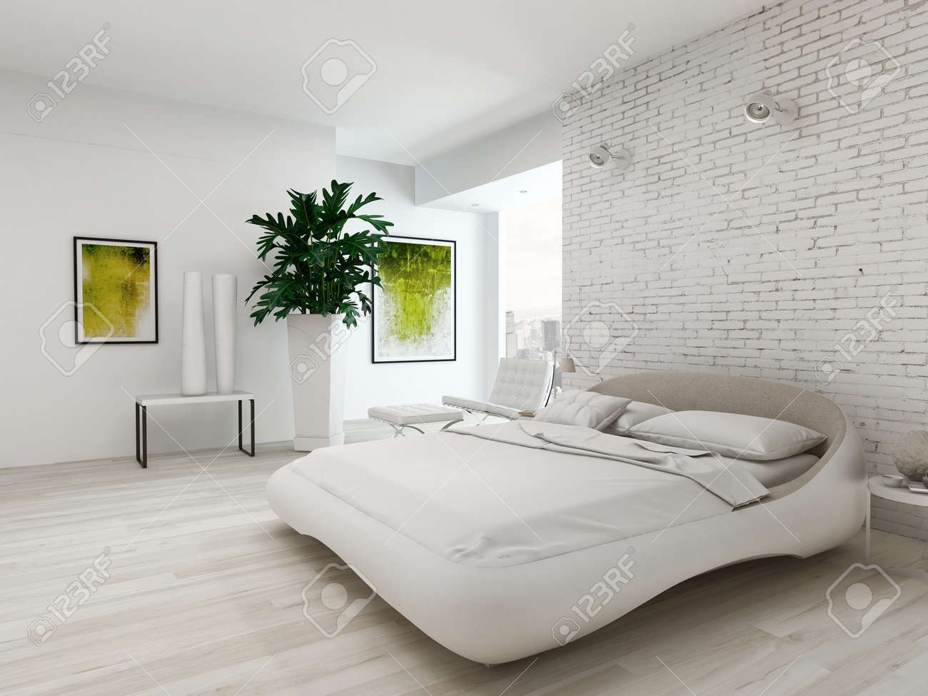 nice bedroom interior with white king-size bed in front of brick