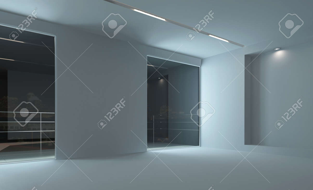 Empty Room Interior With Lighting At Night Stock Photo