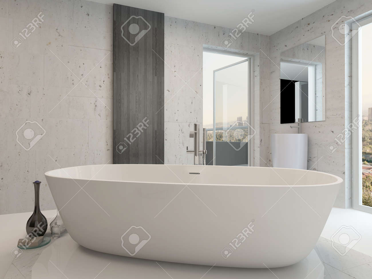 Pure White Modern Luxury Bathroom Interior With Standalone Bathtub Stock  Photo   28772340