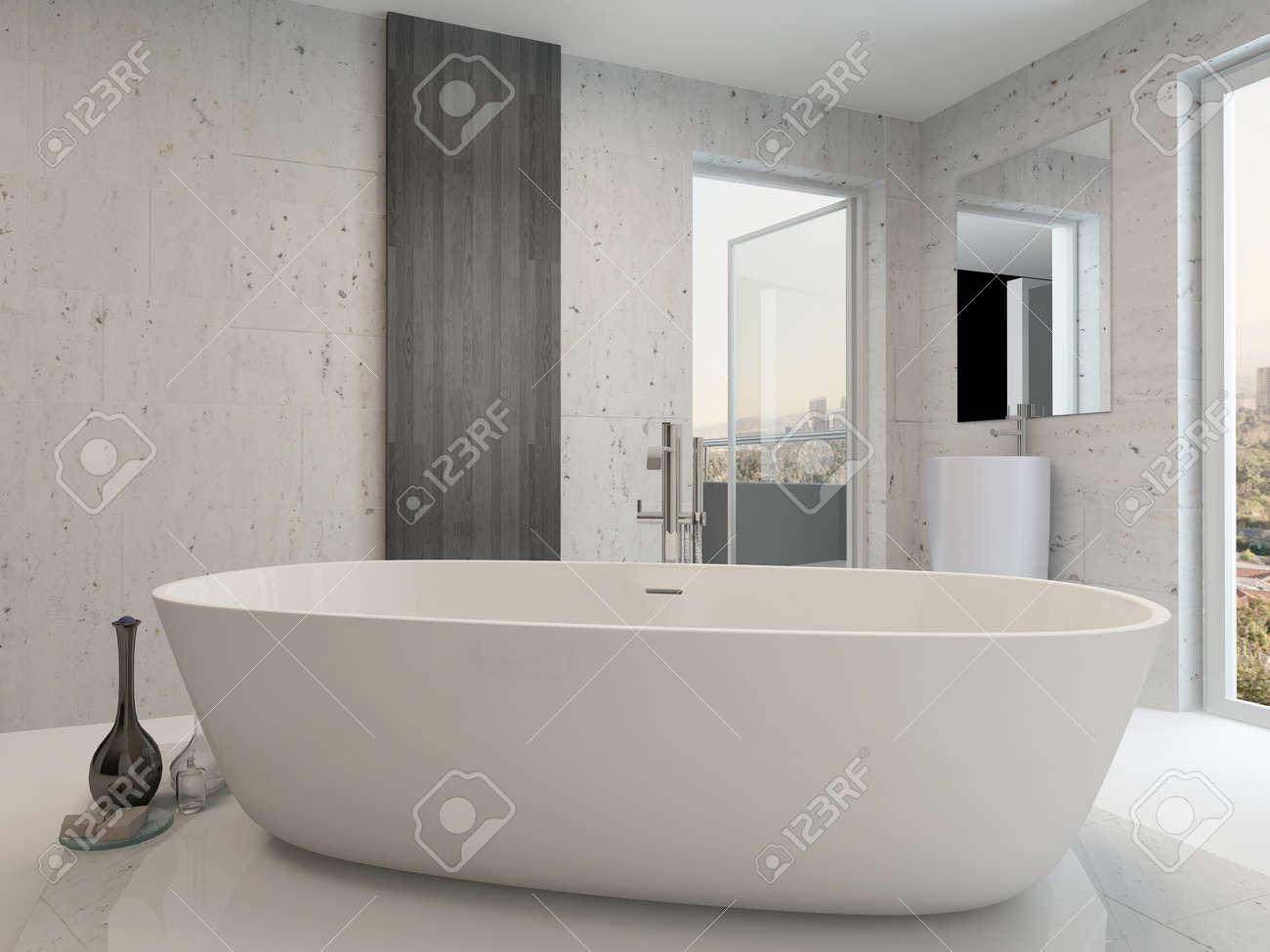 Reines Weiß Modernen Luxus-Badezimmer Interieur Mit Standalone ...