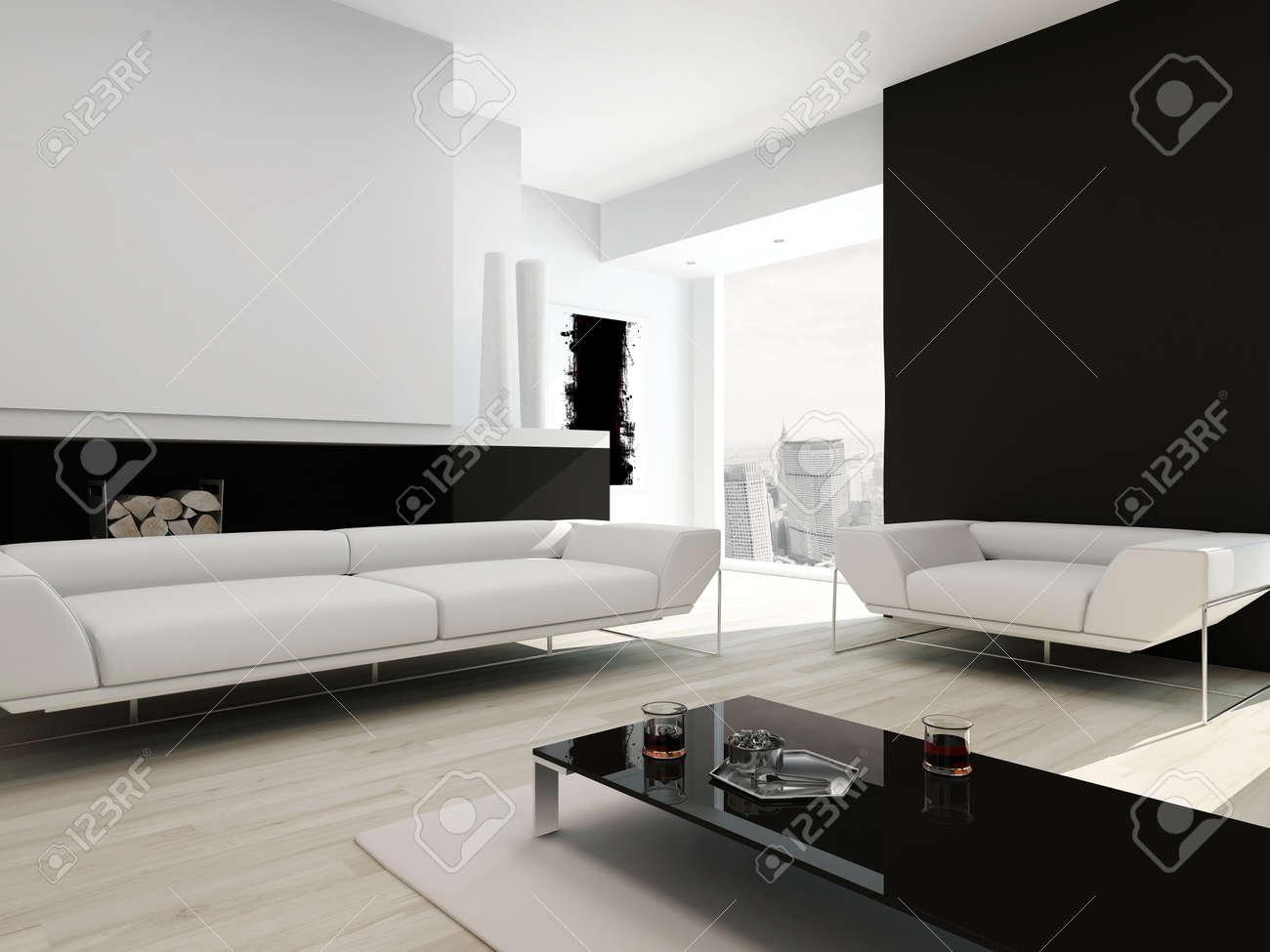 Moderne Intérieur Contemporain Salon Noir Et Blanc Banque D\'Images ...