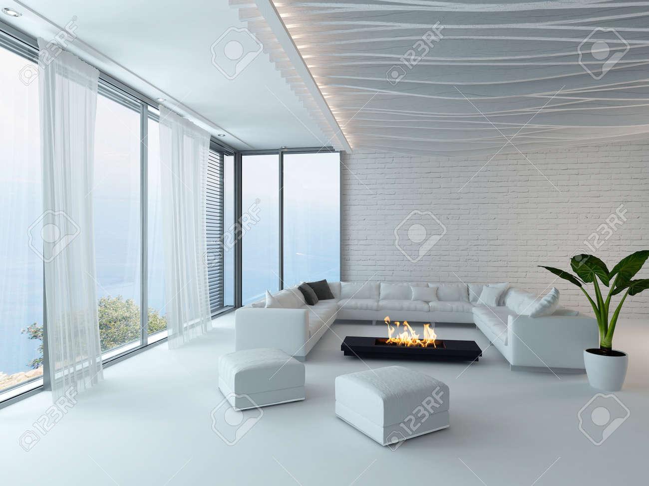 Modernes Design Weiß-Stil Wohnzimmer Innenraum Mit Kamin Lizenzfreie ...