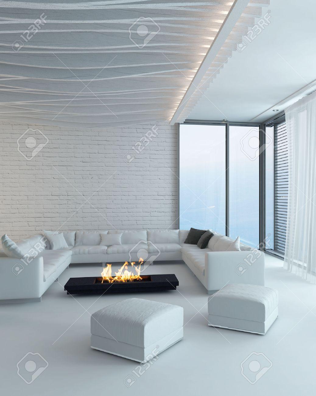 moderno design in stile bianco salotto interno con camino foto ... - Salone Moderno Con Camino 2
