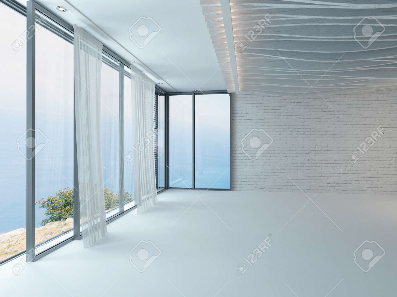 Modern White Empty Room Interior With Curtains And Floor To Ceiling Windows Stock Photo