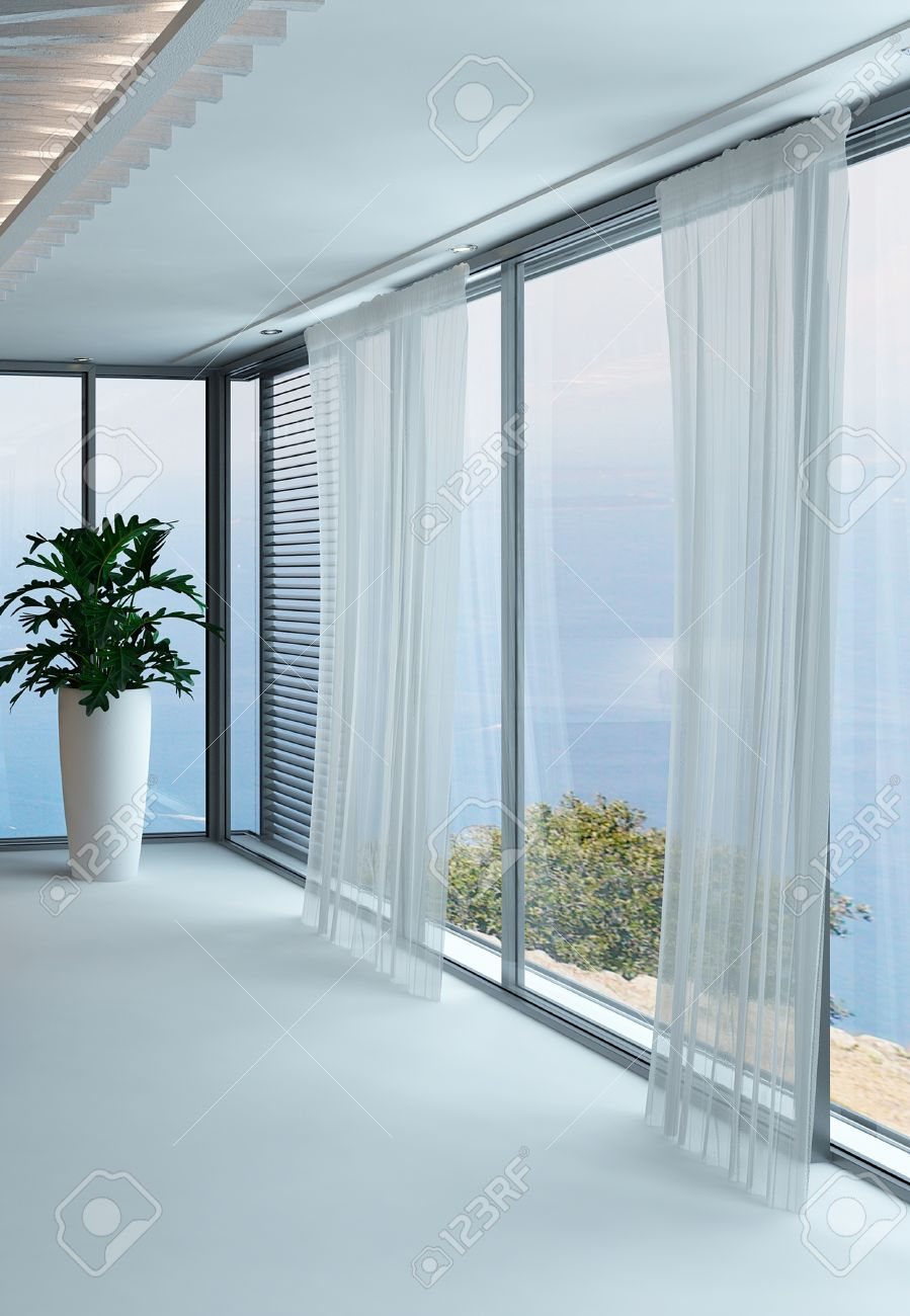 modern white empty room interior with curtains and floor to