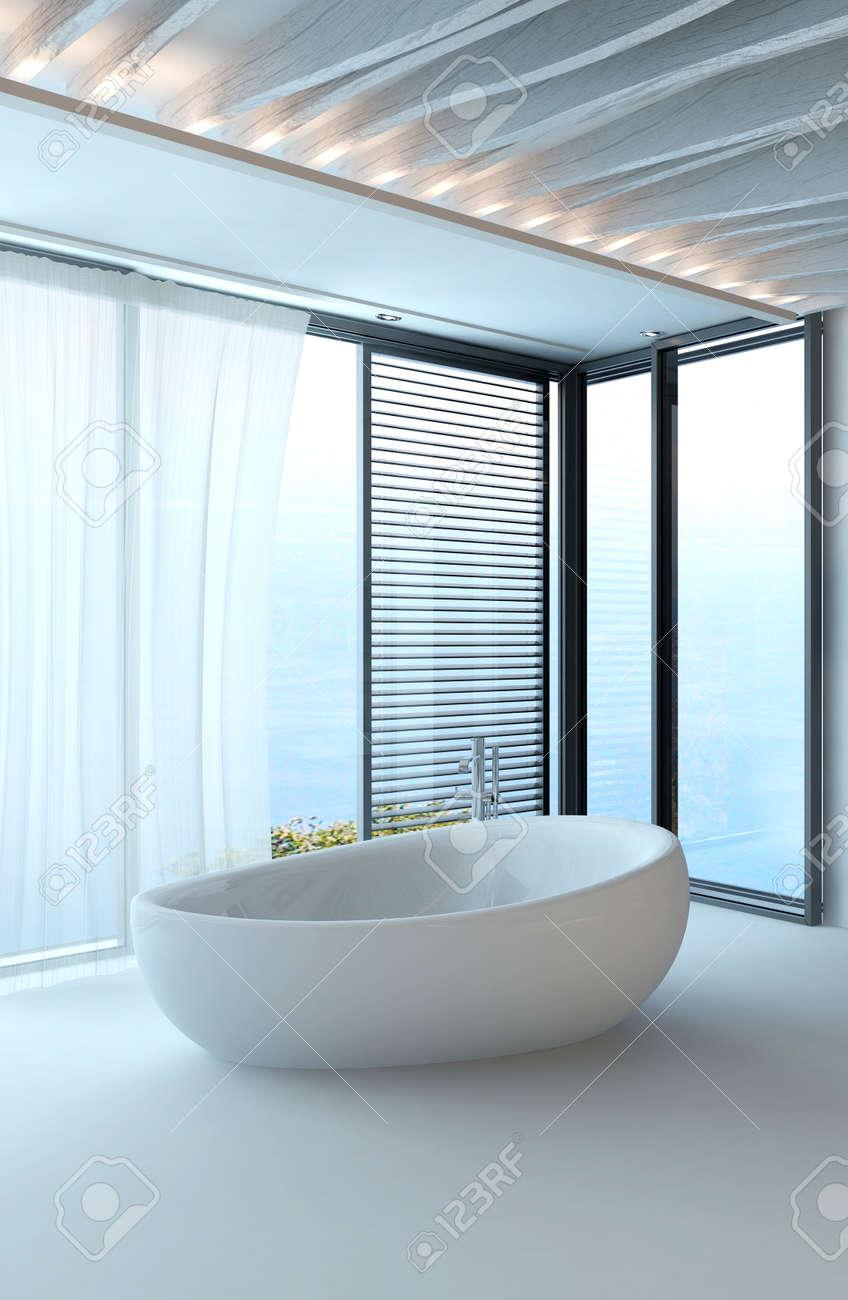 Intérieur blanc pur de salle de bains de luxe moderne avec baignoire  autonome