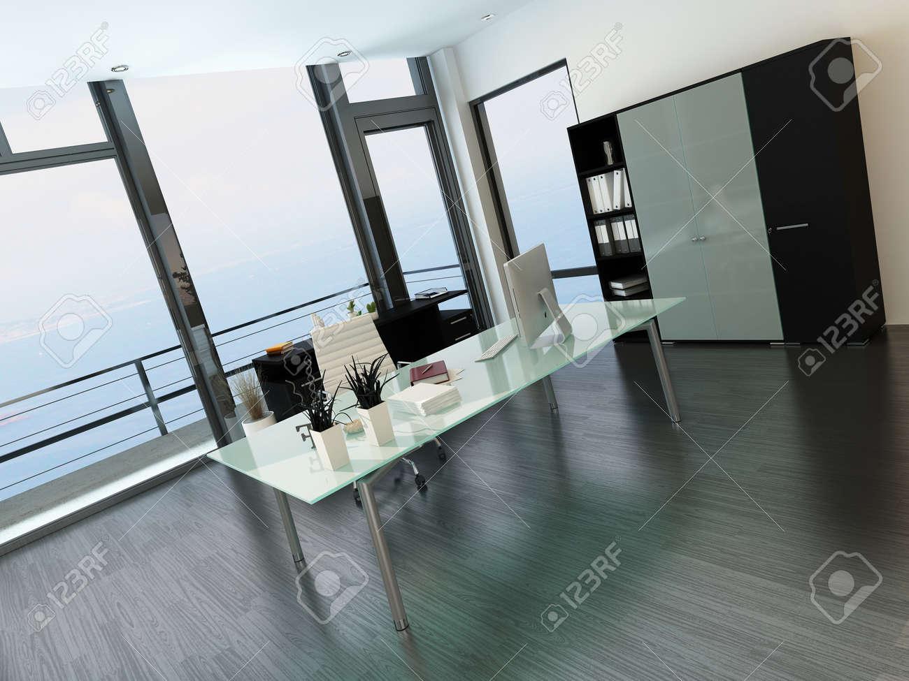 Intérieur de bureaux moderne avec un bureau en verre et fenêtre