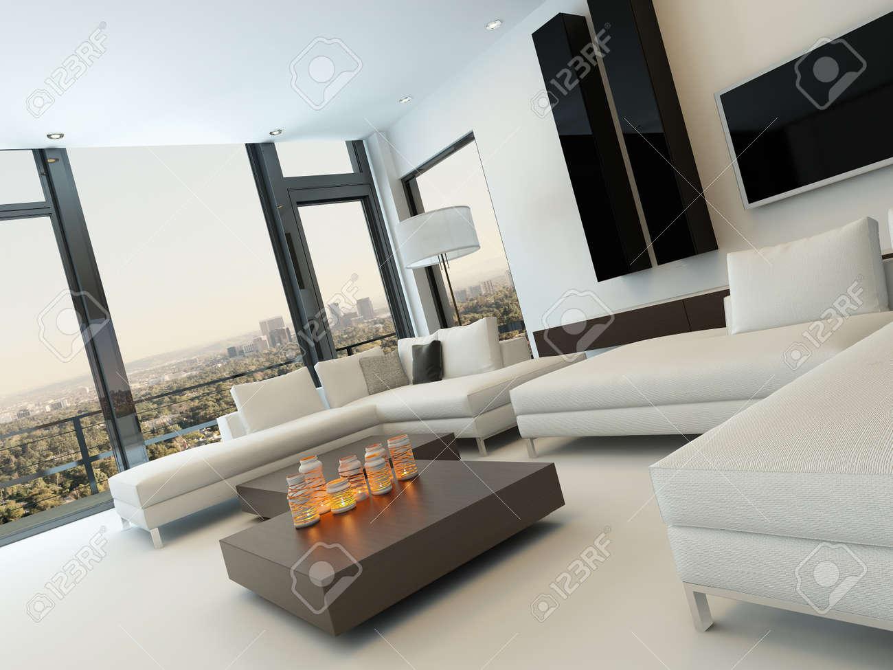 Design moderne ensoleillée intérieur salon avec canapé blanc ...