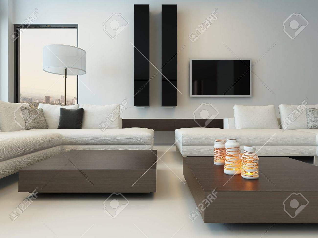 design moderno luminoso soggiorno sala interna con divano bianco ... - Soggiorno Luminoso