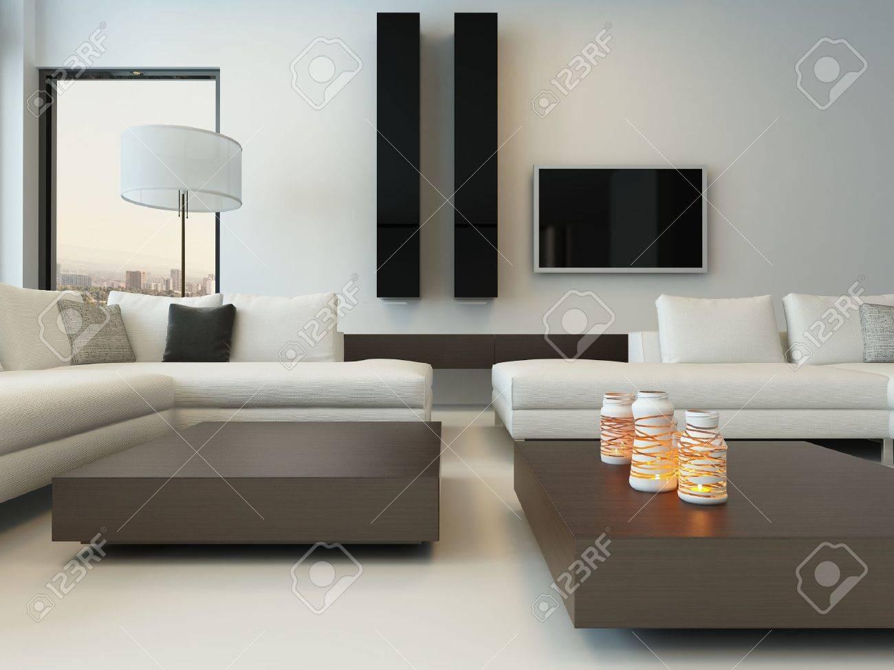 Modernes Design Sonnigen Wohnzimmer Interieur Mit Weißen Couch  Standard Bild   28747315