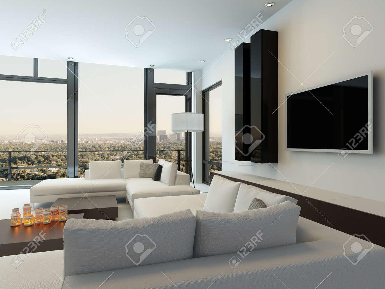 Modernes Design Sonnigen Wohnzimmer Interieur Mit Weißen Couch ...