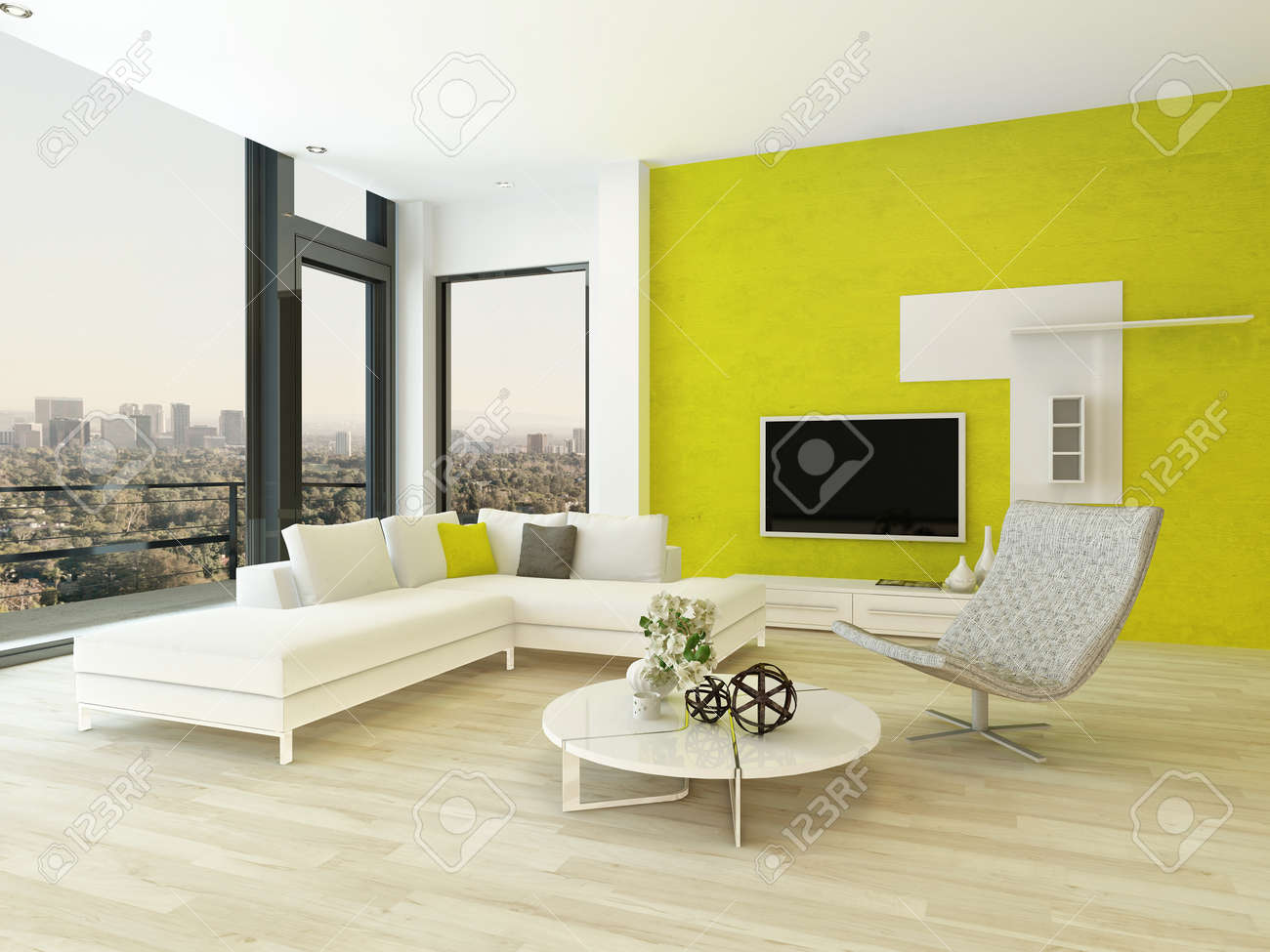 Modern Design Living Room Interior With Nice Furniture And Fancy Green Wall  Stock Photo   28772441 Gallery