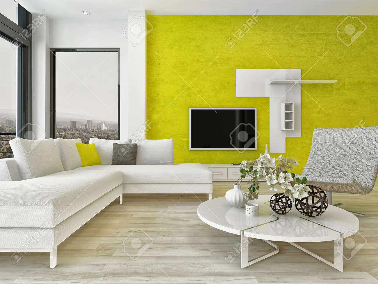 Modernes Design Wohnzimmer Innenraum Mit Schönen Möbeln Und Ausgefallene  Grüne Wand Standard Bild 28772443