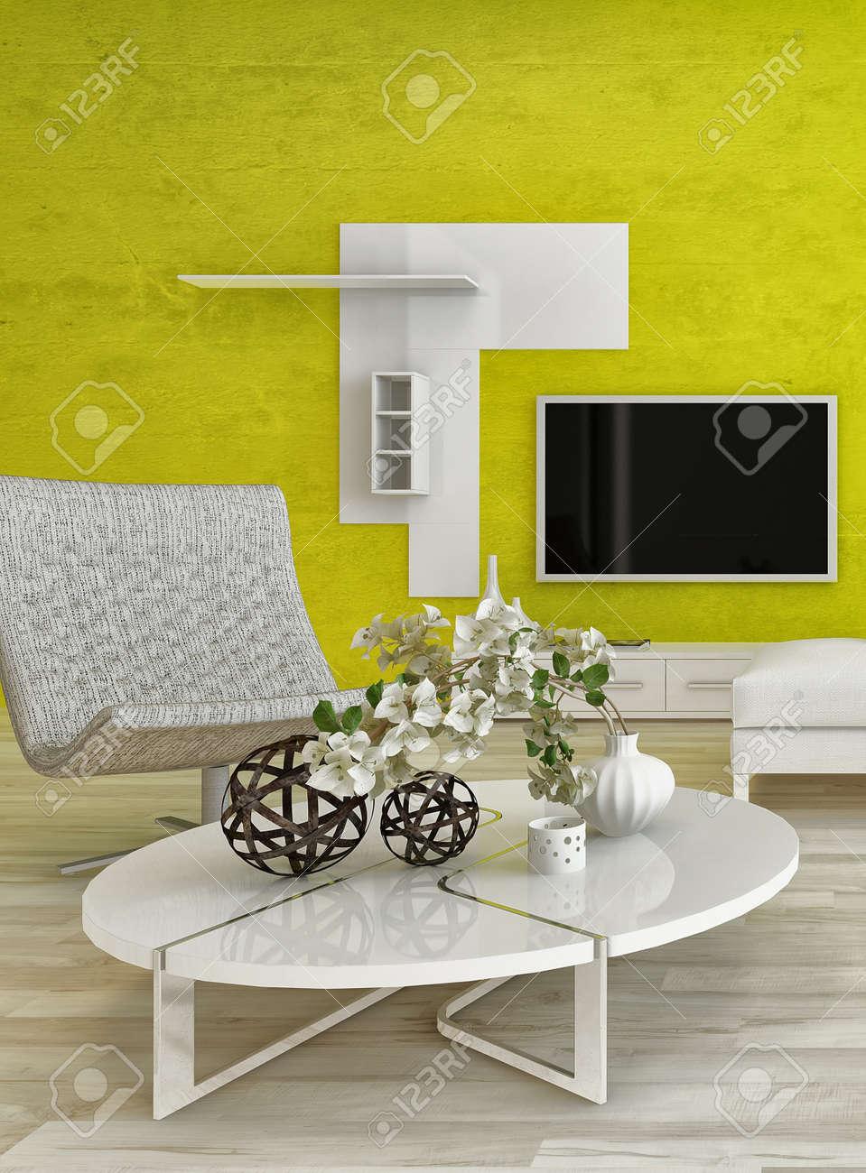Modernes Design Wohnzimmer Innenraum Mit Schönen Möbeln Und ...