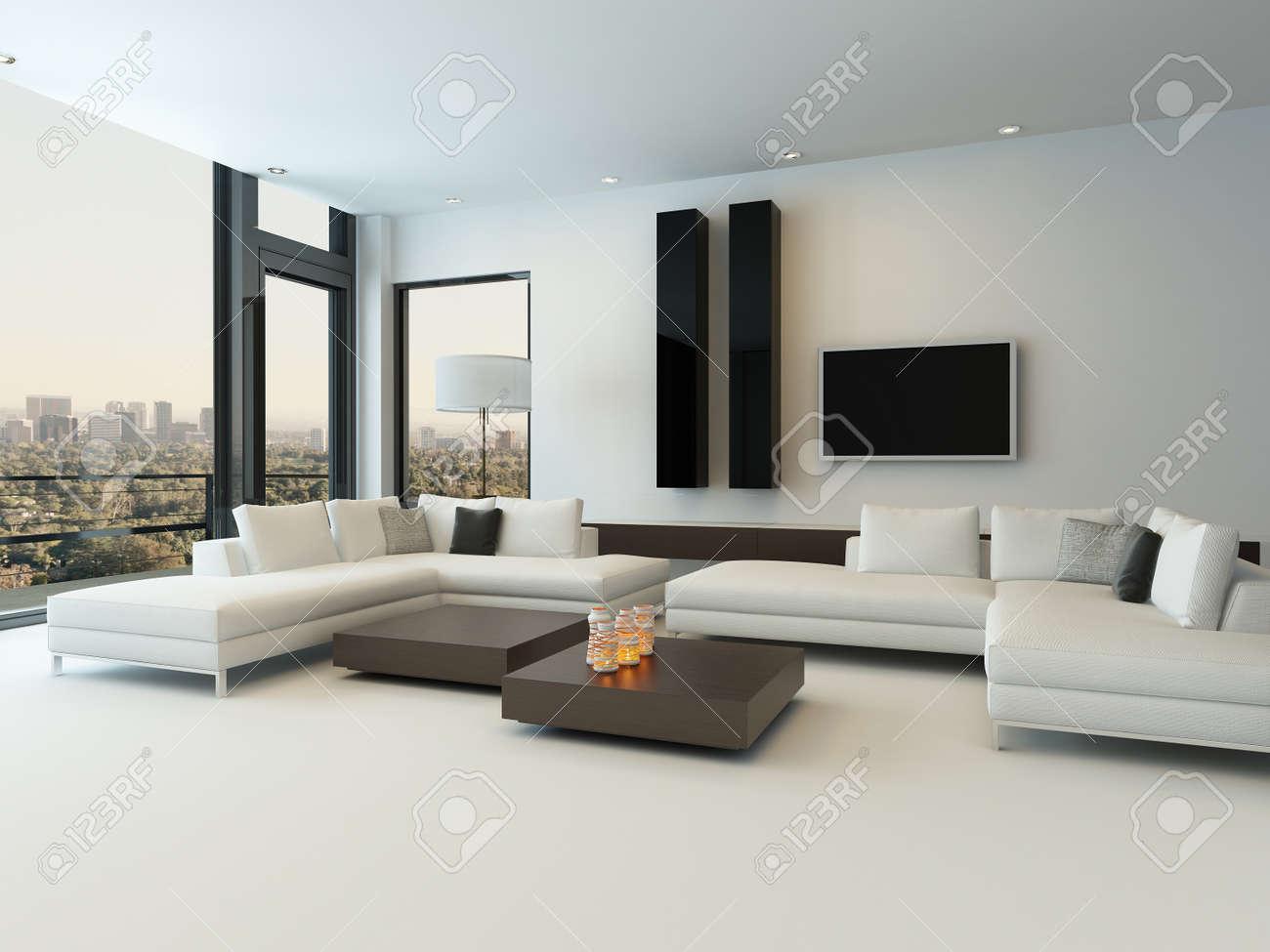 Design Moderne Ensoleillée Intérieur Salon Avec Canapé Blanc Banque ...