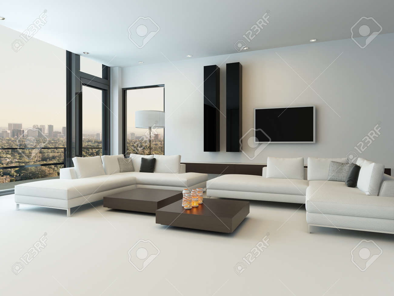 Modern Woonkamer Design : Modern design sunny living room interior with white couch stock
