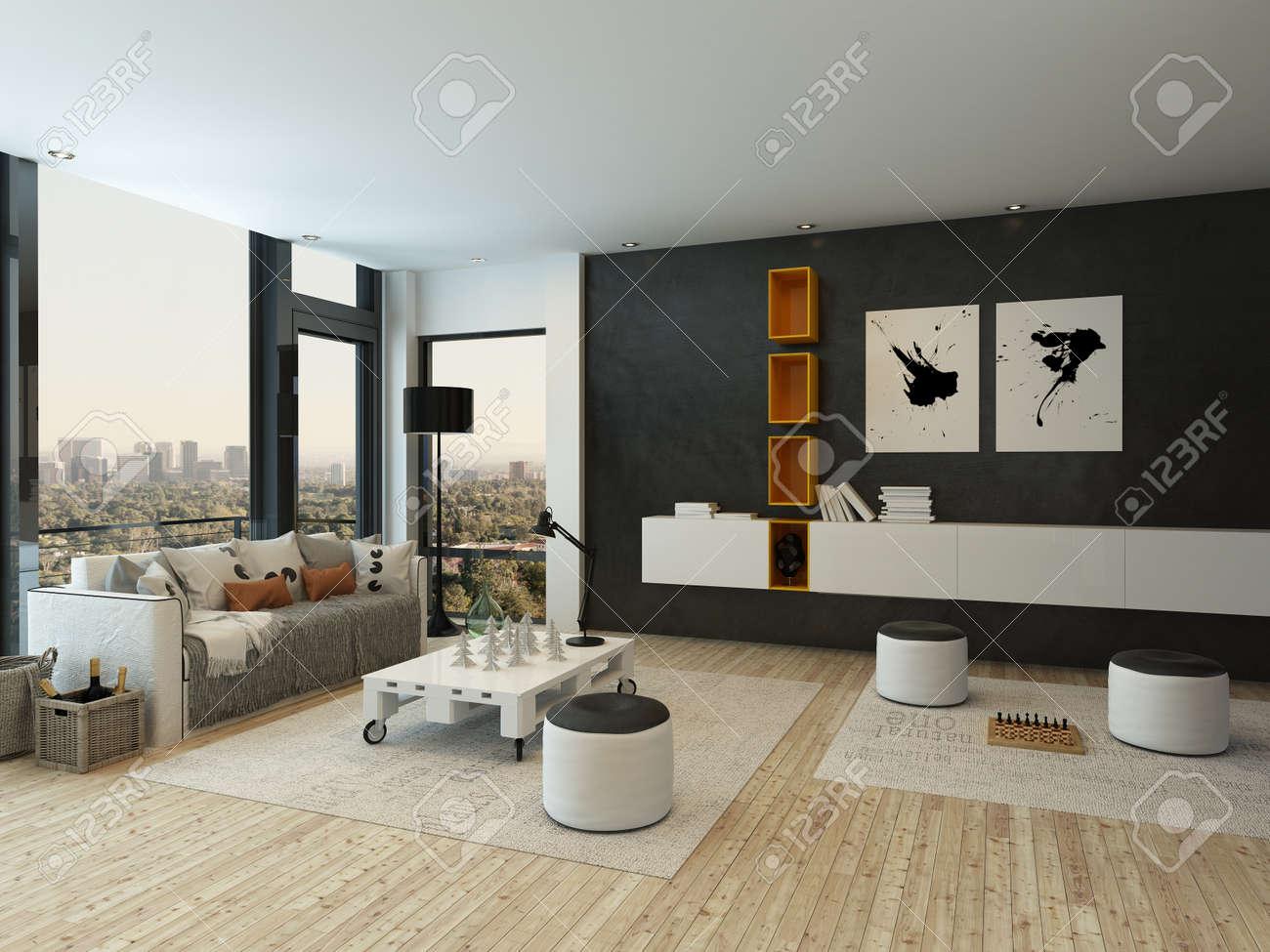Mooie woonkamer interieur met witte en oranje kast royalty vrije ...