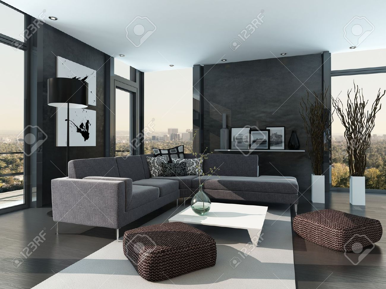 Modern Woonkamer Design : Gray colored modern design living room interior stock photo