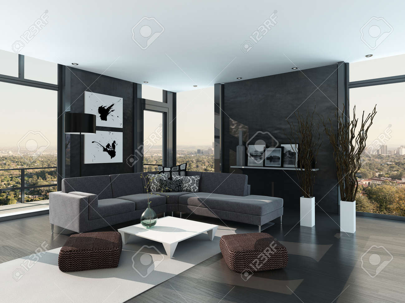 Couleur design moderne intérieur gris salon banque d'images et ...