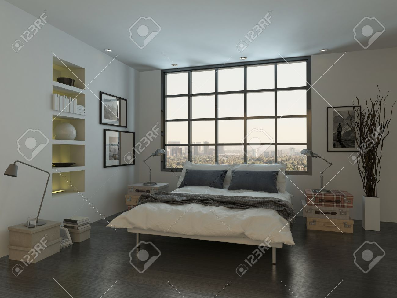 Modern Bedroom Interior With Double Bed In Front Of Huge Window Stock Photo Picture And Royalty Free Image Image 28772383
