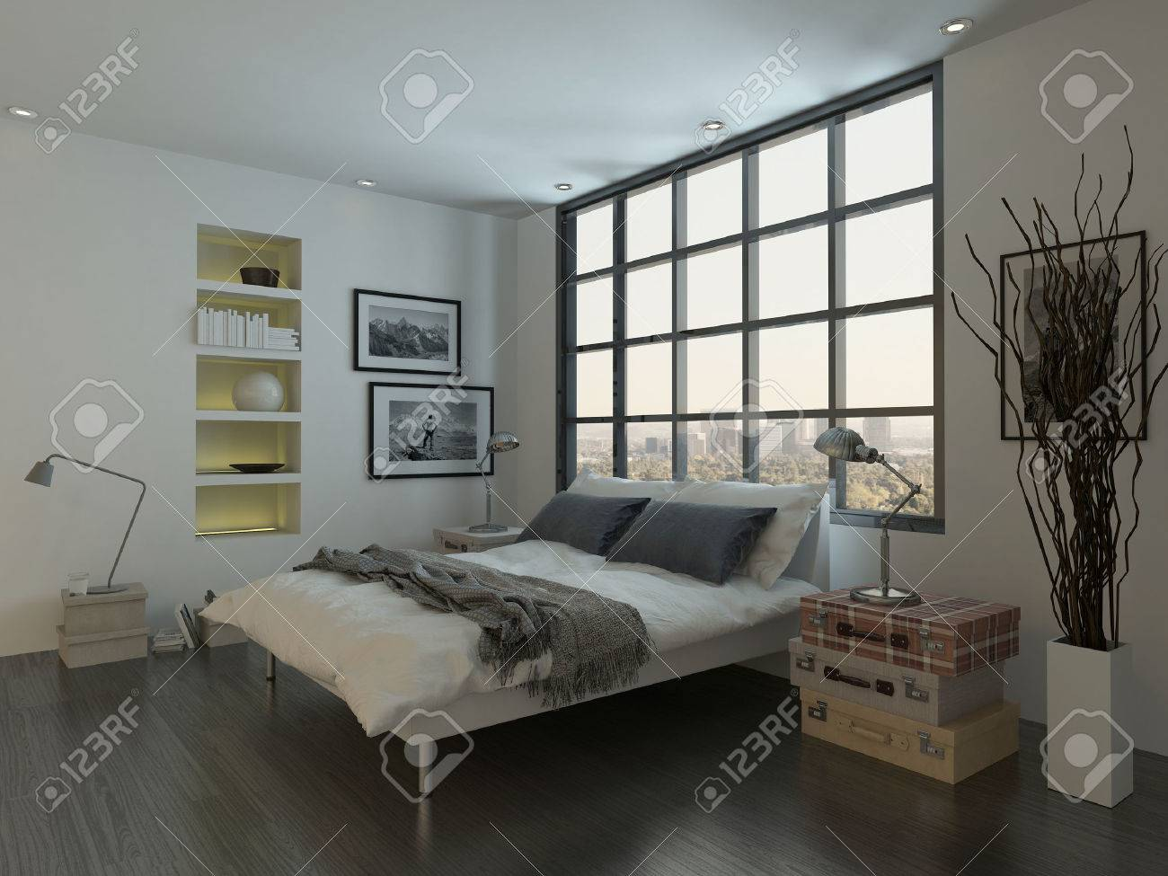 Modern Bedroom Interior With Double Bed In Front Of Huge Window Stock Photo Picture And Royalty Free Image Image 28772444