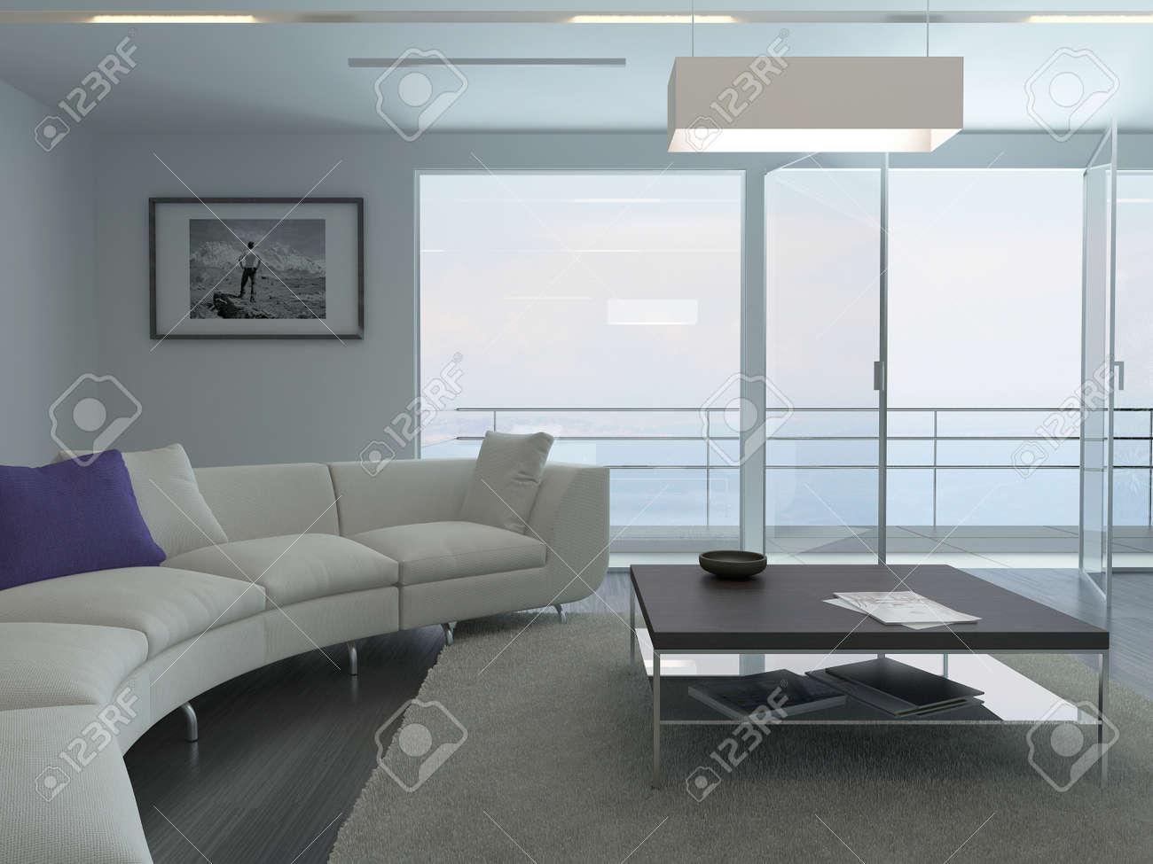 Fenster innenraum  Moderne Wohnzimmer Innenraum Mit Weißen Couch Und Fenster Mit ...